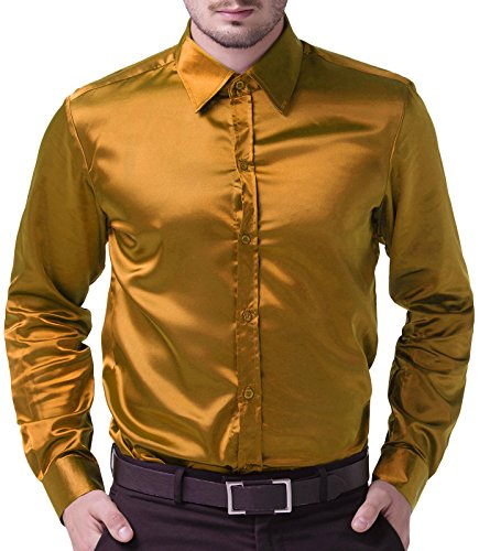 Solid Satin Stylish (Men's Stylish Solid Satin Dress Gold Luxury Shirt Size M)