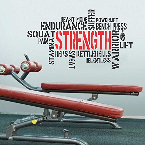 Wallency Motivational Gym Wall Decal - Fitness Words Removable Vinyl Sticker