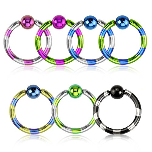 Dynamique Fashionable Duo Tone Striped Captive Bead Ring Titanium IP Over 316L Stainless Steel (per Piece)