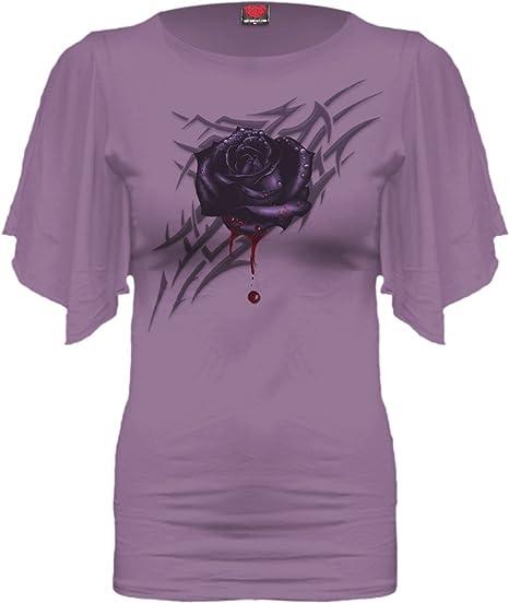Ladies//Girls//Top//Dragon//Rose//Goth// SPIRAL DIRECT DRAGON ROSE Boat Neck Viscose