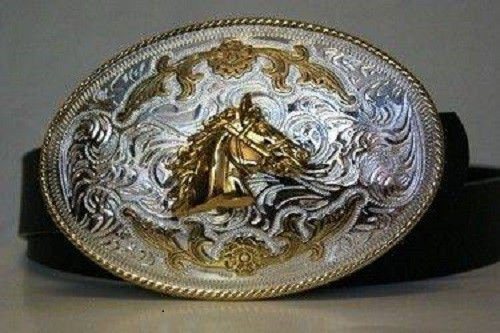 ALBATROS Silver and Gold Bronco Horse Stallion Belt Buckle for Home and Parades, Official Party, All Weather Indoors Outdoors