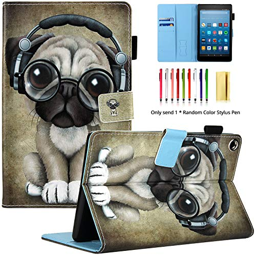 LittleMax PU Leather Case Flip Stand Protective Auto Wake/Sleep Cover for Amazon Kindle Fire HD 8 7th Gen 2017 Release & 6th Gen Release 2016 with Free Stylus- Headphone Dog (Kindle Fire Dog Case)
