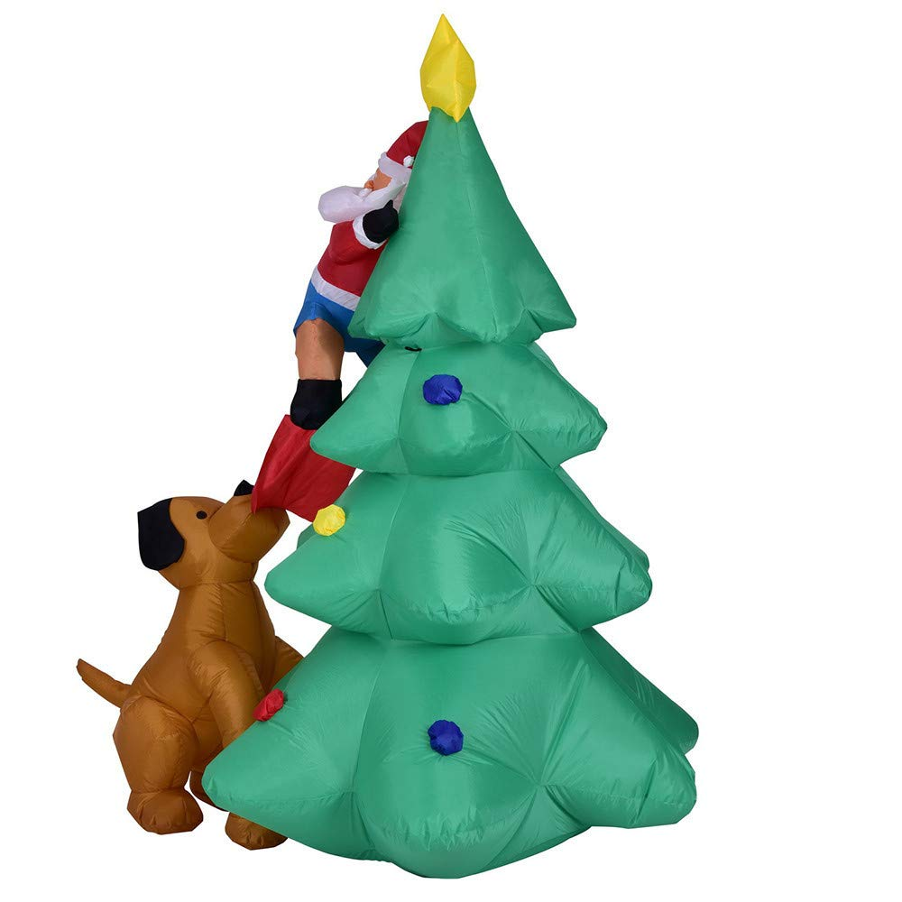 Oldeagle Inflatable Santa Claus Climbing Christmas Tree Holiday Decoration for Kids Gift
