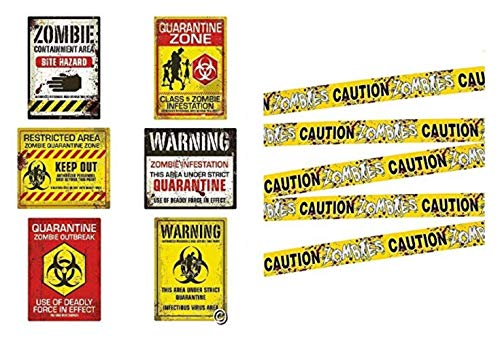Zombie Caution Tape & Zombie Posters Pack for Zombie Party or Halloween Party -
