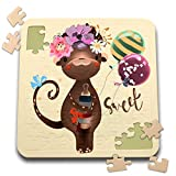 3dRose Uta Naumann Sayings and Typography - Cute Children Watercolor Animal Illustration - Flower Monkey - Sweet - 10x10 Inch Puzzle (pzl_289926_2)