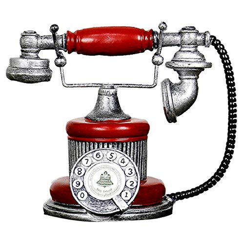 Hewnda Antique Telephone Creative Retro Decorative Phone Resin Rotary Dialing Telephone Decorating Cafe Bar Window Decoration Home Decoration Props (red)