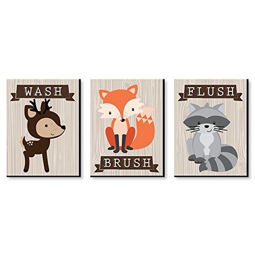 "Big Dot of Happiness Woodland Creatures - Kids Bathroom Rules Wall Art - 7.5"" x 10"" - Set of 3 Signs - Wash, Brush, Flush (Set Kids Wall Art)"