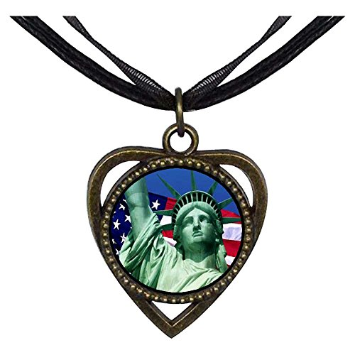 GiftJewelryShop Bronze Retro Style The U.S. Statue of Liberty Heart Shaped Pendant Charm Necklaces