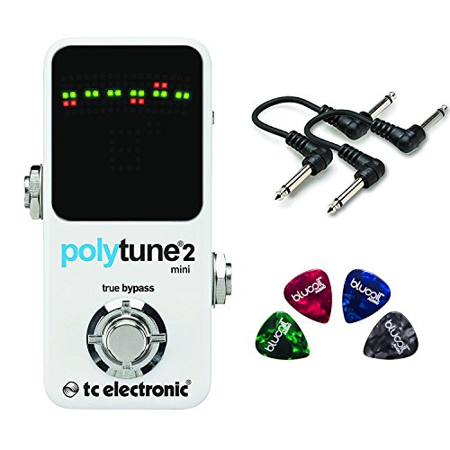 TC Electronic Polytune 2 Mini Guitar Pedal Tuner Value Bundle w/ 2 6