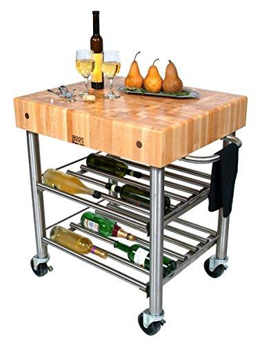 (John Boos Wine Cart with Cherry Top)