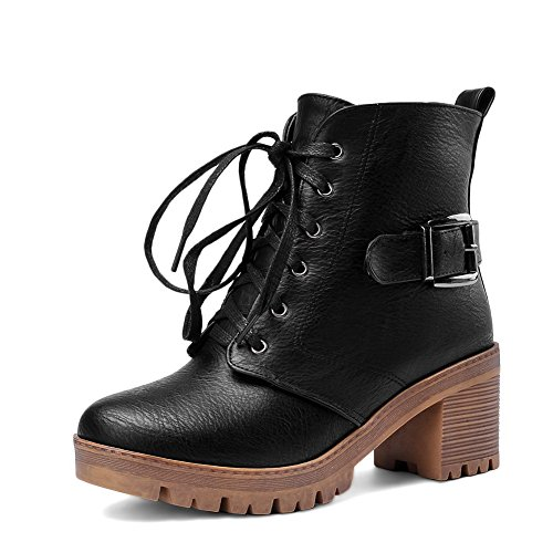 A&N Womens Chunky Heels Buckle Lace-Up Imitated Leather Boots Black 8i4edV0i
