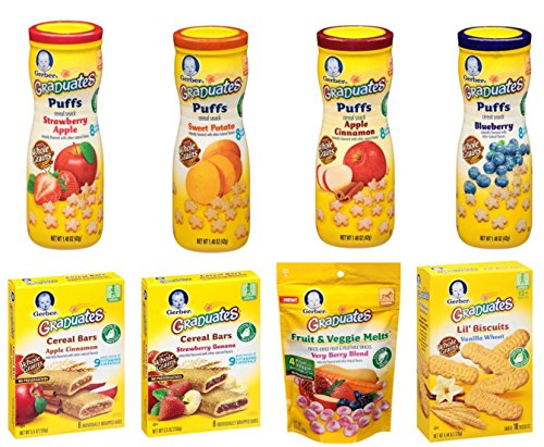 Gerber Graduates Variety Snack Pack (Includes Includes 4 Puffs, 1 Lil' Biscuits, 1 Fruit and Veggie Melts, 1 Fruit Strips, 1 Fruit and Oat Bars) by Gerber Graduates