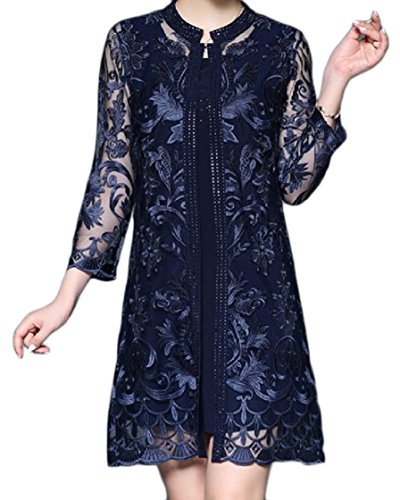 Party 2 Oversize 3 Coolred Blue Women Piece Sleeve Mesh Rhinestone Embroidered Dress 4 wvwqC6F