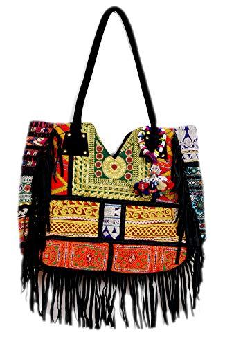 Handmade Vintage Ethnic Design Embroidery Black Leather Fringe Tote Handbag for Women (Multicolor)