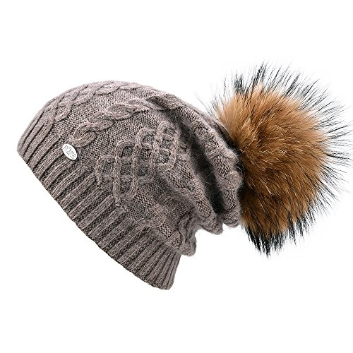Real Wool (SOMALER Womens Winter Beanie Hats For Women Knit Beanie With Real Fur Pom Pom Ski Caps)