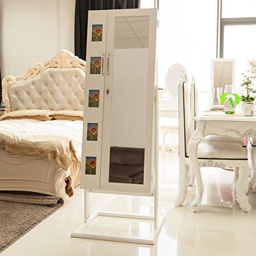 DXP Schmuckschrank Spiegelschrank Standspiegel Weiß 150 x 56 x 44 cm Schmuckkasten mit Spiegel und Fotorahmen Doppeltür Design JCYJ09 -