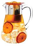 Finum Hot or Cold Loose-Leaf Iced Tea Control Pitcher, 1.8 Liters (61 Ounce), Amber