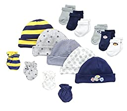 Gerber Baby-Boys Newborn Sports 15 Piece Socks Caps and Mittens Essential Gift Set, Sports, 0-3 Months