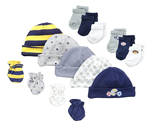 Mitten Set Piece 3 (Gerber Baby-Boys Newborn Sports 15 Piece Socks Caps and Mittens Essential Gift Set, Sports,Yellow Sports, 0-3 (Cap 0-6M))