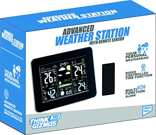 Atomic Wireless Weather Station with Indoor / Outdoor Wireless Sensor – TG645 Color Display Weather Station Alarm Clock With Temperature Alerts, Forecasting by Think Gizmos. Photo #8