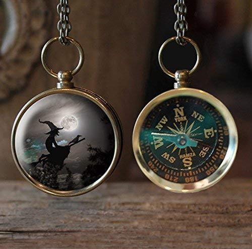 Witch Flying Across sky with full moon Compass Necklace, Great Gift Idea