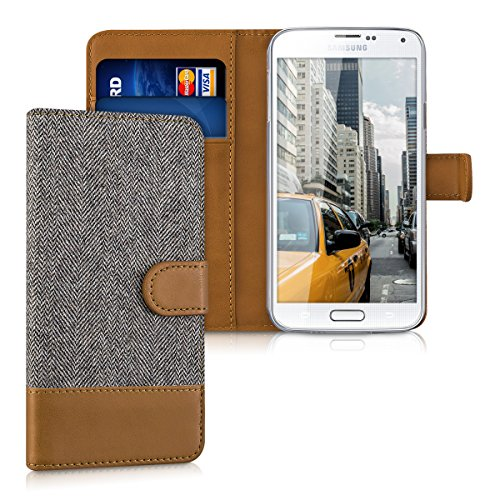 kwmobile Wallet Case for Samsung Galaxy S5 / S5 Neo - Fabric and PU Leather Flip Cover with Card Slots and Stand - Dark - Sleeves Card Neo