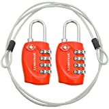 2 Pack Lumintrail TSA Approved All Metal International Travel Luggage Resettable Combination Lock with 4-ft Steel Cable for Suitcase and Baggage - Assorted Colors
