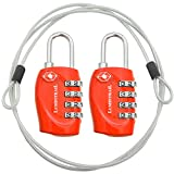 2 Pack Lumintrail TSA Approved All Metal International Travel Luggage 4 Digit Resettable Combination Lock with 4-ft Steel Cable for Suitcase and Baggage - Assorted Colors (Red (2 pack))