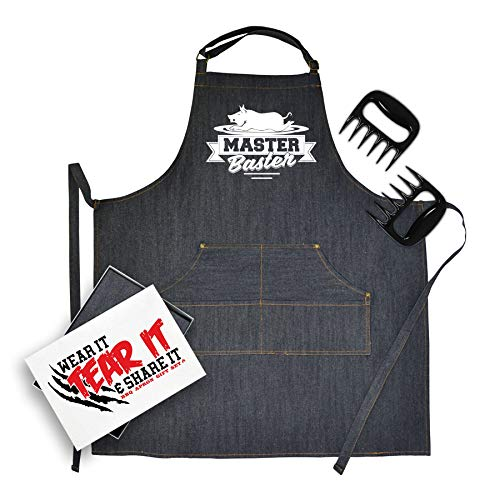 Bang Tidy Clothing Denim BBQ Apron & Meat Shredding Claws Accessories Gift Set Master Blaster