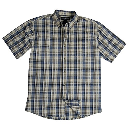 (Canyon Guide Men's Short Sleeve Plaid Seersucker Shirt | Button Down (Medium, Grey))