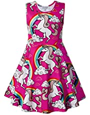 JK Unicorn Party Dress Girl, Casual Sleeveless Rainbow Design