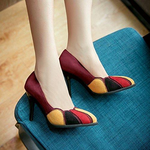 MissSaSa Damen high heel geschlossen Pointed Toe assorted colors Pumps Weinrot
