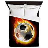 CafePress - Soccer Fire Ball - Queen Duvet Cover, Printed Comforter Cover, Unique Bedding, Microfiber