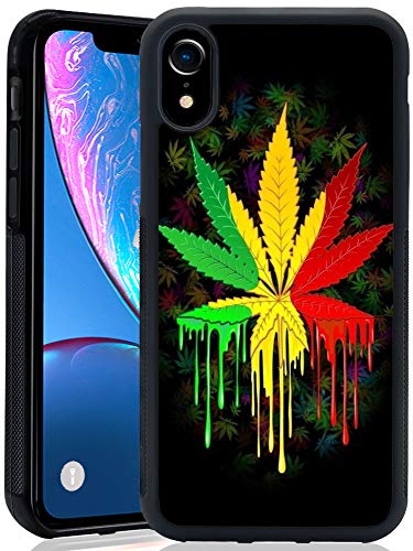 Case for iPhone Xr case Watercolor Marijuana Leaves Slim Soft and Hard Tire Shockproof Protective Phone Cover Case Slim Hybrid Shockproof Protective Case Anti-Scratch Cushion Bumper with Reinforced Co (Marijuana Leaf Case)