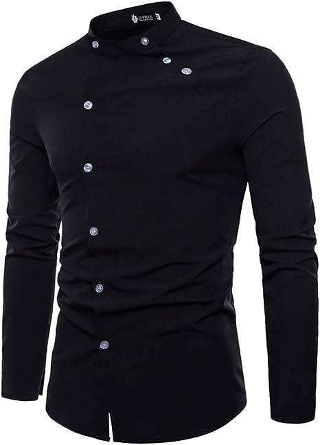 YaXuan Camisa de Hombre, Camisa Cruzada de Personalidad ...