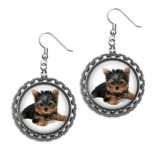 (Yorkshire Terrier Bottlecap Earrings)