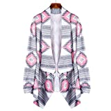 Lookatool Women Geometric Printed Long Sleeve Cotton Kimono Cardigan Coat