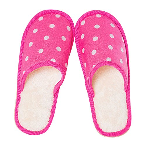 Hestio Slippers Home anti - skid Thickening Warm Cotton Slippers Rose-rot 1CNzMgtss