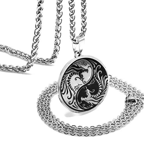 ZONICTA Dragon Yin Yang Necklace for Men - Jewelry Stainless Steel Amulet Pendant Necklace with Gift Box (Stainless Steel)