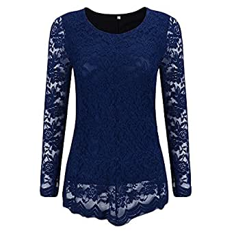 AvaCostume Womens Round Neck Pierced Lace Long Sleeves Shirt Tops Blouse, Blue 4