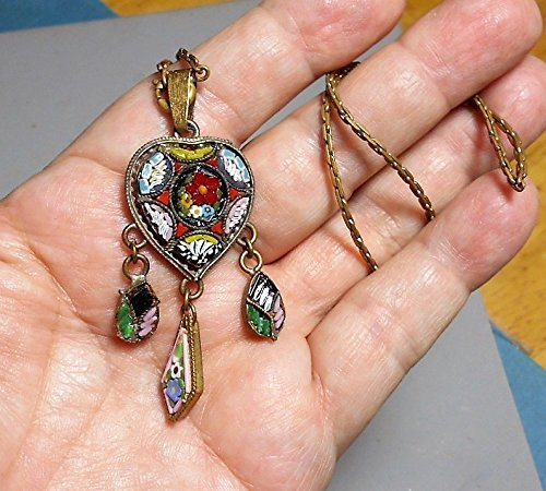ntique Vibrant Micro Mosaic Heart Necklace with 3 Dangles, Made in Italy. 2
