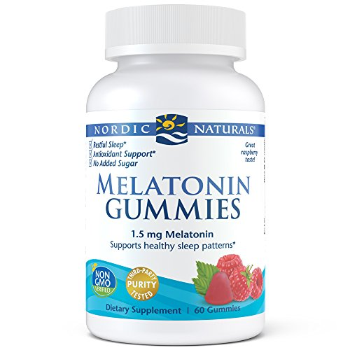 Healthy Sleep Patterns - Nordic Naturals Melatonin Gummies - Chewable Gelatin-Free Gummies with 1.5 mg of Melatonin Help Maintain Healthy Sleep Patterns and Provides Antioxidant Support, Raspberry Flavor, 60 Count