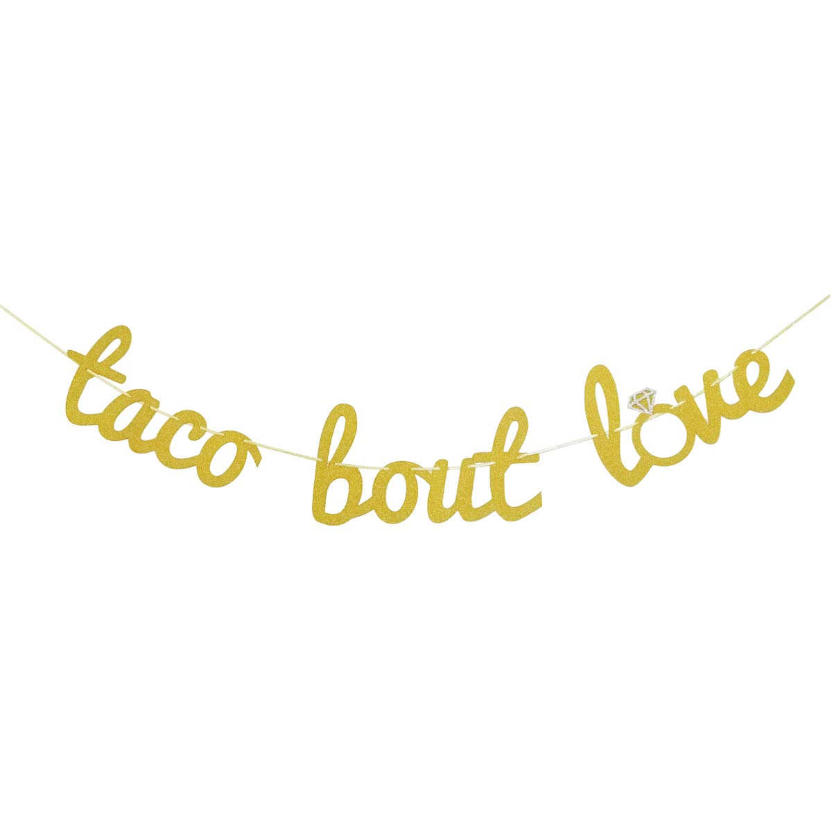Finseng Taco Bout Love Gold Glitter Banner Sign Garland for Mexican Fiesta Themed Bridal Shower Bachelorette Party Wedding Decorations