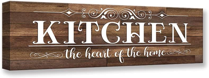 Kas Home Vintage Kitchen Canvas Wall Art   Rustic Kitchen Rules Prints Farmhouse Signs Framed   Family Sign Kitchen Wall Decor (5.5 X 16.5 inch, Kitchen-01)