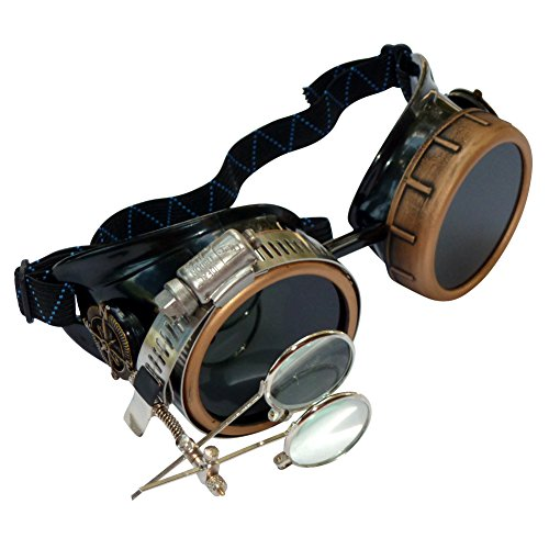 Steampunk Victorian Style Goggles Rave Glasses with Compass Design and double Ocular Loupe]()
