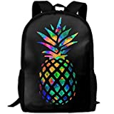 Malsjk8 Cool Pineapple Colorful Unisex Print Backpack Canvas Bag School Student Bookbags Daypack Laptop