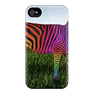 Hot QmU8157YaML Rainbow Zebra Tpu Case Cover Compatible With Iphone 4/4s