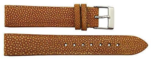 TELLUS Yellow Galuchat Watch Band Pin Clasp, 18mm Strap B18018