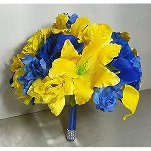 Royal Blue Yellow Rhinestone Rose Lily Bridal Wedding Bouquet & Boutonniere 52
