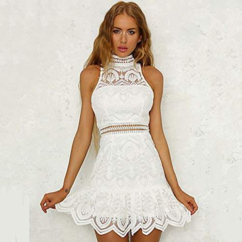 TTSKIRT Vestido De Corte Slim con Cuello Alto Mini Cintura Alta para Mujer,White,S